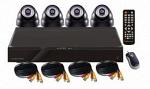 Комплект для видеонаблюдения DVR и 4 купольные камеры