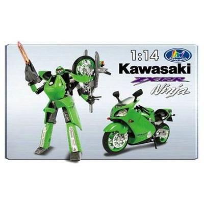 Игрушка Робот-трансформер Kawasaki Ninja ZX-12R свет. 1:14