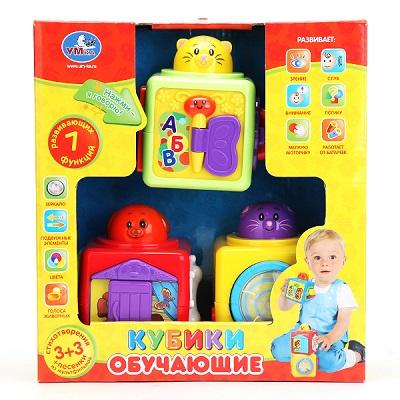 Обучающие кубики Умка на БАТ. 3 стих.+3 песни в Русс. Кор. игрушка