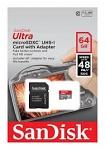 Sandisk Mobile Ultra microSDXC Class 10 UHS Class 1 64GB + SD adapter карты памяти microsd купить объем памяти 64 ГБ