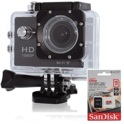 Видеосвидетель 400 FHD Wi-Fi Экшен камера с картой памяти 16GB Sandisk Ultra купить SD адаптер в комплекте