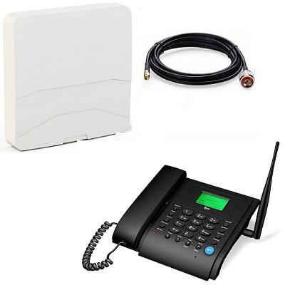 Kit MT3020b Стационарный сотовый телефон GSM под сим карту (чёрный) с антенной панельной