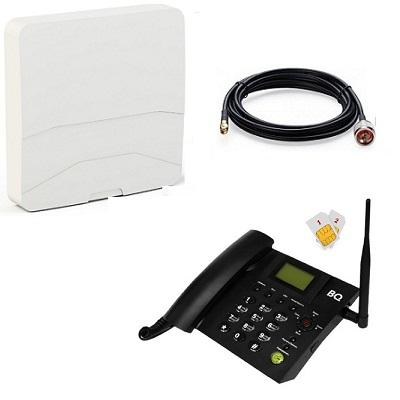 BQ-2052 Point Стационарный сотовый телефон GSM под 2 сим карты (чёрный) с антенной панельной