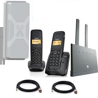 Комплект ShopCarry SIM 310-2N стационарный сотовый радио DECT телефон с двумя трубками GSM/4G/3G WIFI роутер и антенна MIMO