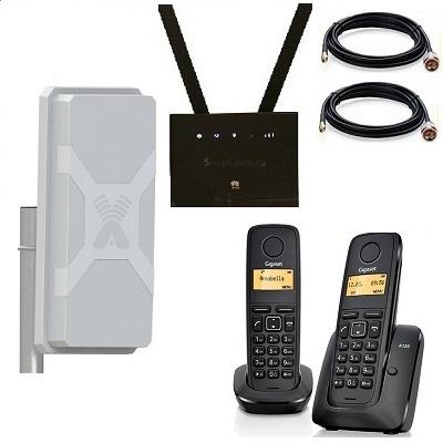 Комплект ShopCarry SIM 315-2N стационарный сотовый радио DECT телефон с двумя трубками GSM/4G/3G WIFI роутер и антенна MIMO купить