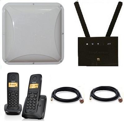 Комплект ShopCarry SIM 315-2P стационарный сотовый радио DECT телефон с двумя трубками GSM/4G/3G WIFI  роутер и  антенна MIMO купить