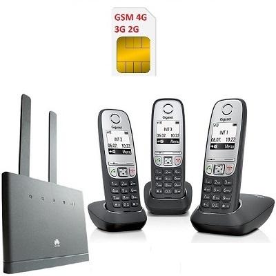 Комплект SHOPCARRY SIM 310-415 стационарный сотовый радио DECT телефон с 3-мя трубками GSM/4G/3G WIFI и роутер универсальный