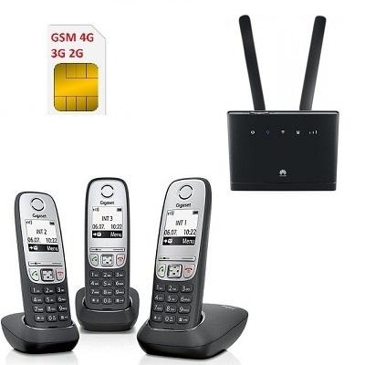 Комплект SHOPCARRY SIM 315-415 стационарный сотовый радио DECT телефон с 3-мя трубками GSM/4G/3G WIFI и роутер универсальный