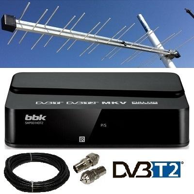 Цифровая приставка dvb-t2 bbk smp001hdt2 в комплекте с антенной направленной уличной кабелем 10 м
