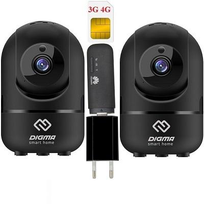 ShopCarry Cam361B-2 видеонаблюдения 3g 4G поворотная 2-е камеры (комплект)